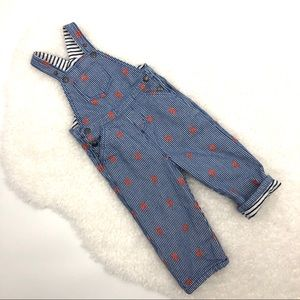 Baby Boden Boy's Engineer Stripe Lined Overalls